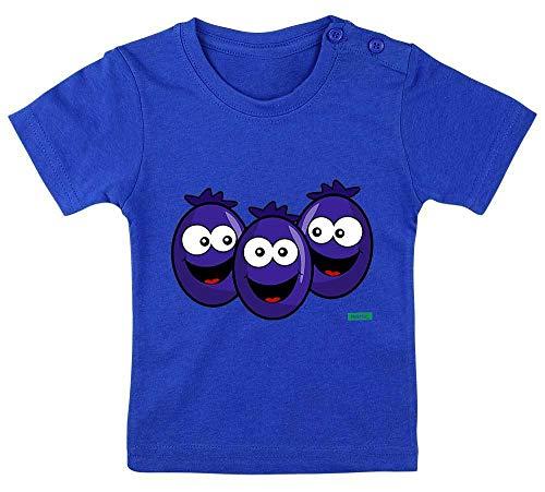 Hariz - Camiseta de manga corta para bebé, diseño de arándanos sonriendo y frutos del verano, incluye tarjeta de regalo azul Royal Königs azul. Talla:3-9 Monate / 60-69cm
