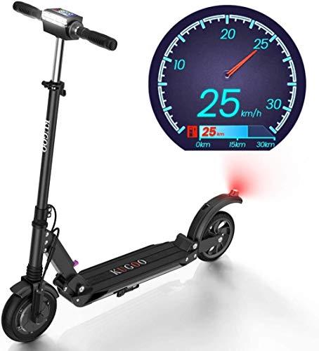 S1 Folding elektrischer Roller 350W Motor-LCD Display 3 Speed-Modi 8 Zoll Festhinterreifen 18 Meilen lange Strecke Erwachsene Scooter mit LED-Licht und zusammenklappbare Lenker, Farbe Name: Schwarz