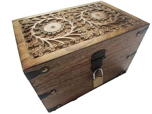 24KS Baule in legno con serratura/Scatola decorativa con coperchio, regalo di compleanno, matrimonio