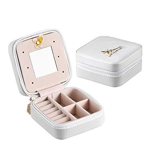 Dfghbn Caja De Joyería Joyería del Anillo del Collar de la Caja de almacenaje Organizador de la Joy Gabinete Estuche de Regalo 3 Colores (Color : White, Size : 10x10x5cm)