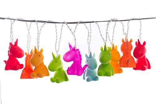 Einhorn-Lichterkette mit verschiedenen Farben - aufgehangen