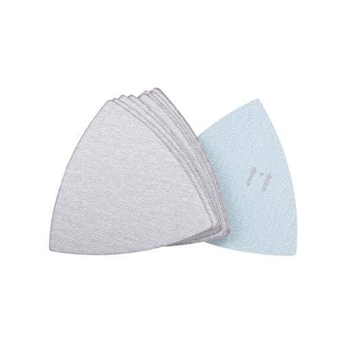 sourcing map 12Stk. Dreieck Detailschleifer Schleifpapier Klettverschluss 3-1/2 Zoll Schleifkissen Weiß Schleifmittel 1000 Streugut