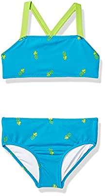 Amazon Essentials Girl's 2-Piece Bikini Set, Aqua Pineapples, M