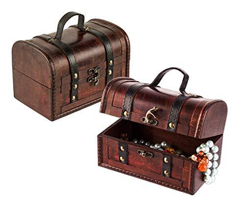 2er Set Schatztruhe aus Holz - 18 x 12 x 12 cm - Schatzkiste mit Verschluss, Dekotruhe, Holztruhe, Holzbox mit Deckel