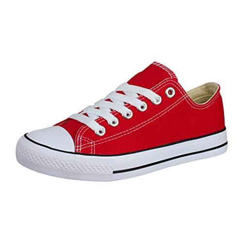 Elara Unisex Sneaker Low top Turnschuh Textil Chunkyrayan 36-46 A-YD3230-Rot-38