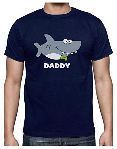 Green Turtle T-Shirts Camiseta para Hombre - Regalos para Padres, Regalos para Papá Primerizo - Daddy Shark - X-Large Azul Oscuro