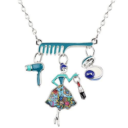 Collar Declaración De Aleación De Esmalte Peine Secador De Pelo Maquillaje Chica Collar Colgante Collar Moda Joyería Para Mujeres Señoras Regalo Bijoux