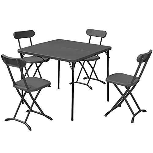 Tisch- und Stuhlset im Freien, ultraleichter, tragbarer, höhenverstellbarer Campingklapptisch mit 4 Stühlen für Gartenpartys/Grill/Büro im Innen- und Außenbereich