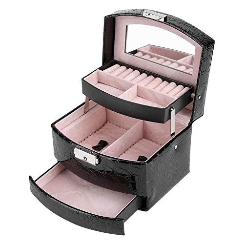Caja de Joyería de 3 Capas con Espejo y Mango Caja Joyero para Collar Anillos Collar Broches Pulsera(Negro)
