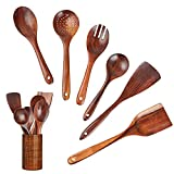 Wooden Utensils Set 7 Pack,InnoStrive Nature Teak Nonstick Wooden Spoons For Cooking, Wooden Spatulas And Spoons With Holder