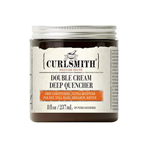 Curlsmith - Double Cream Deep Quencher - Acondicionador profundo hidratante vegano para cabello ultra seco, ondulado, rizado o de rizos muy cerrados (237ml)