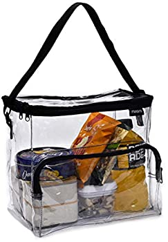 Clear Lunch Bag - Durable PVC Plastic See Through Lunch Bag with Adjustable Shoulder Strap Handle for Prison Correctional Officers Work School Stadium Approved Freezer Proof and Lead Free  Large