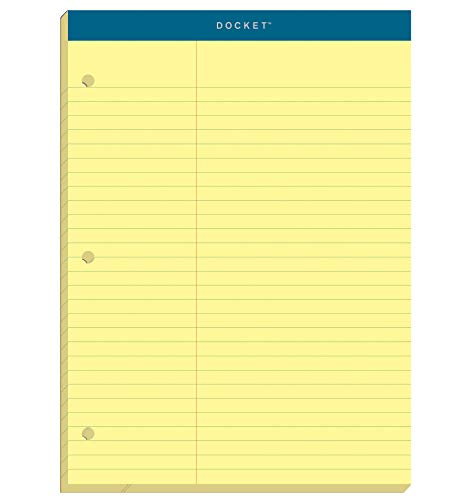TOPS 63394 Double Docket Pad, Extra Stiff Back, 8 1/2 x 11 3/4, Canary, 100 Sheets
