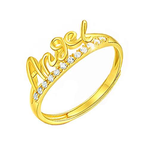 YZJYB Anillo De Oro Macizo De 24K,360 ° Pulido Completo Diamantes Hechos A Mano Anillo De Bodas De La Señora De Confesión De San Valentín