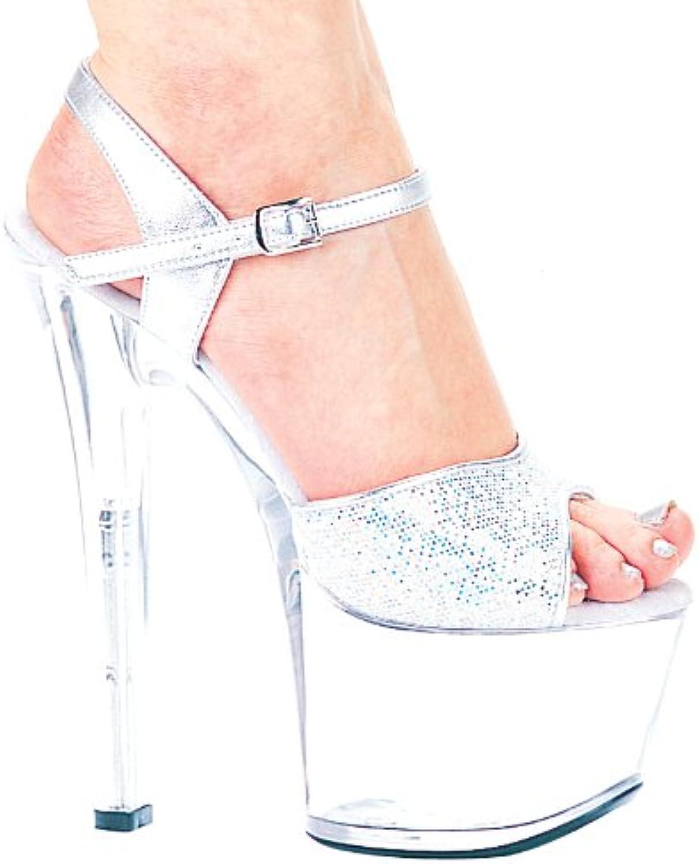 Ellie 711-FLIRT-G 7  Heel Silver Glitter Sandal