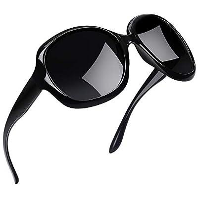 Joopin Oversized Fashion Sunglasses for Women, UV400 Big Frame Womens Sunglasses Polarized Ladies Sunglasses H9045 (Fashion Black)