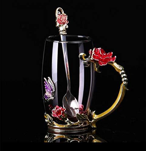 Mug Taza Café Hand-Made Enamel Crystal Cup Coffee Mug Lemon Flower Tea Cup - Glass Drinkware Gift Couple Mug For Lover Wedding,1Cup1Spoon