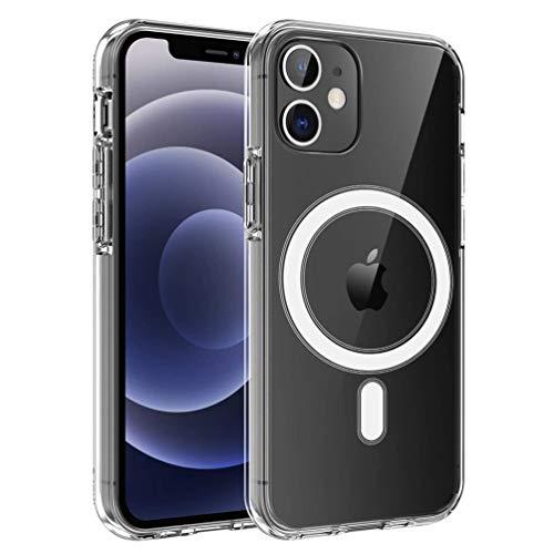 HiChili Funda de Silicona con Magnet Transparente para el iPhone 11 con Imán Incorporado Cristal Anti-amarillea Carcasa Protectora Suave TPU Case PC Back Cover Clear Protective Shell