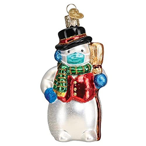 Old-World Christmas Glass Blown Ornament with S-Hook and Gift Box, Festive Collection (Snowman with Face Mask, 24209)