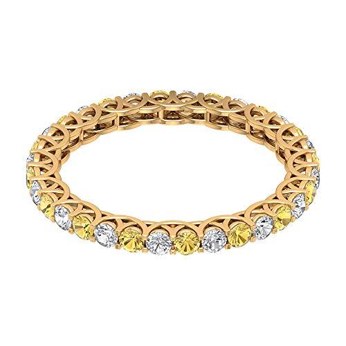 Anillo de boda de 3/4 ct certificado de 2 mm de citrino, anillo de eternidad de diamante clásico, anillo de compromiso con piedras preciosas, 14K Oro amarillo, Size:EU 50
