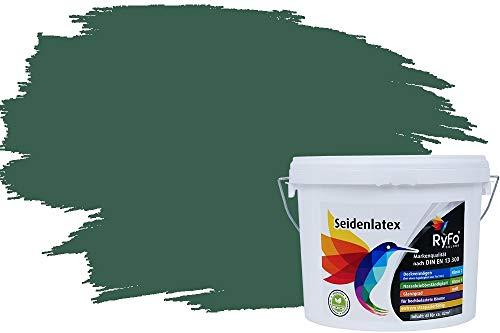 RyFo Colors Seidenlatex Trend Grüntöne Tannengrün 6l - bunte Innenfarbe, weitere Grün Farbtöne und Größen erhältlich, Deckkraft Klasse 1
