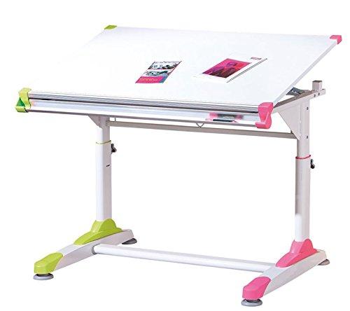 PEGANE Bureau Inclinable pour Enfant en Coloris Blanc/Rose-Vert, Dim : 66 x 100 x 84 cm