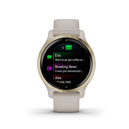 Garmin Venu 2S GPS Sport Fitness Smaller-Sized Smartwatch, Light Gold Bezel with Light Sand Case, AMOLED Display, Music with Wearable4U White Earbuds with Charging Case Bundle