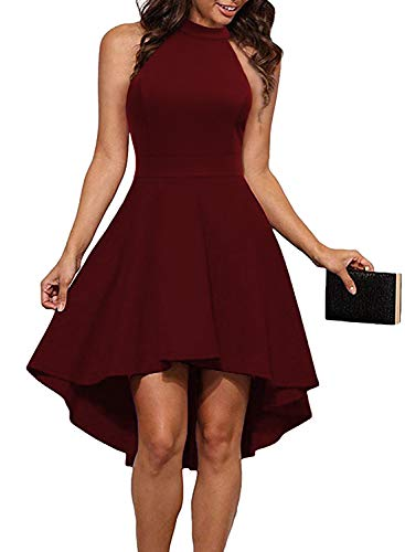 cheap MUSHARE High Neck Open Cocktail Ladies Cocktail Dress Burgundy