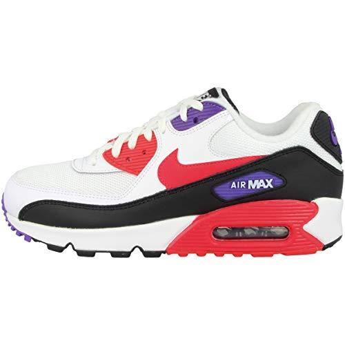 Nike Air MAX 90 Essential, Zapatillas de Gimnasia para Hombre, Blanco (White/Red Orbit/Psychic Purple/Black 106), 42 EU