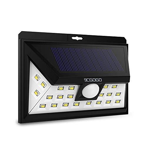9CGOGO Solar Lights Outdoor,Motion Sensor Solar Lights with Wide Lighting Area,24 LEDs Waterproof Security Lights for Back Yard,Driveway,Garage,Front Door,Garden and More
