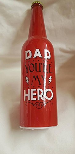 Rouge Dad Hero Light Up Bouteille (piles non incluses) : environ 28 x 7.5cms