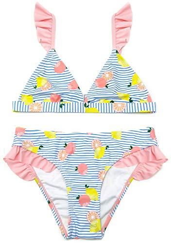 SHEKINI Bambine Bikini Triangolo 2 Pezzi Costumi da Bagno con Volant Bikini a Vita Bassa Carina Beachwear Floreale Rosa Hawaii (Rosa, 10-12 Anni)