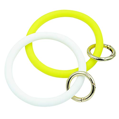 RAVE STAR Schlüsselarmband für Damen – Schlüsselarmband für Mädchen, ideal für Partys, Einkaufen und den täglichen Gebrauch, Weiá (White and Yellow Key Chain Bangle), Large