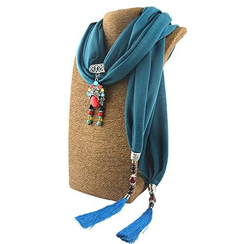 Gespout Collar Delicado para Mujer Bufanda Colgante con Flecos de moda Collar de Algodón Bufanda Babero Colgante de Estilo étnico para Mujer Accesorios de Vestir para Cualquier Temporada.Turquesa