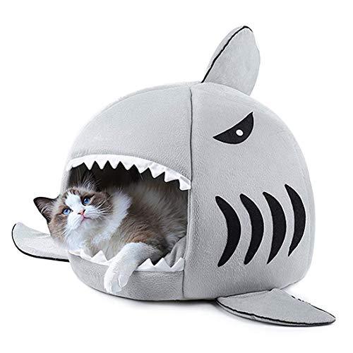 ペットハウス 猫 ベッド サメ型 猫ハウス ドーム型 Dociote ペットベッド 犬 ドーム 冬 保温防寒 寒さ対策 犬ベッド 犬ハウス 室内用 通年適用 耐噛み 滑り止め 多機能 洗える 鮫型 かわいい クッション付き 猫 犬 小動物用 ペット用品 Sサイズ