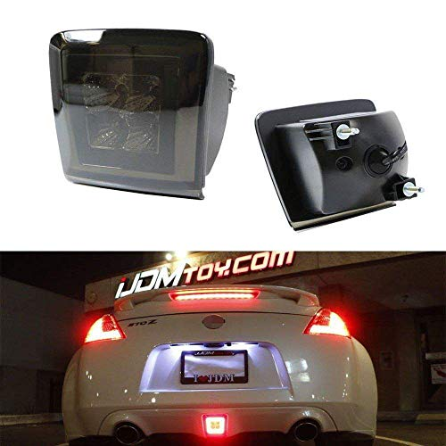 iJDMTOY Dark Smoked Lens LED Rear Fog Light Kit Compatible With 2009-up Nissan 370Z & 13-17 Juke Nismo, Powered by Red LED as Brake/Rear Fog & White LED as Backup Reverse Lamp