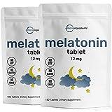 2 Pack Advanced Sleep Melatonin 12mg, 180 Tablets Each, Nighttime Sleep Aid for More Relaxation, Premium Melatonin Sleep Aid, Helps You Fall Asleep Faster, Stay Asleep Longer, Vegan