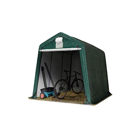 TOOLPORT 2,4 x 3,6 m Portable Garage Storage Shed Shelter Tent Carport Car Canopy approx. 240 g/m³ PE in darkgreen