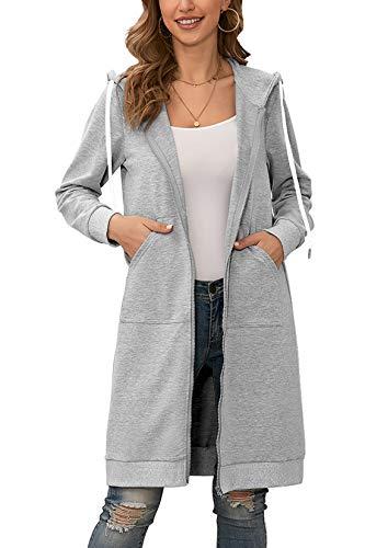 Yidarton Hoodie Damen Kapuzenpullover Langarm Herbst Winter Frauen Freizeit Sweatjacke Kapuzenpulli Outwear Kapuzenjacke (Hellgrau, Medium)