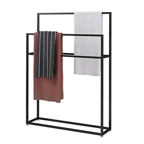 Toallero para baño independiente, color negro, soporte de 2 niveles de metal, estante de secado resistente con base resistente para organizador de cocina, 65 x 20 x 110 cm