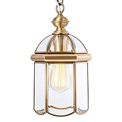 Outdoor Hanging Light Fixtures, Brass Waterproof Pendant Lighting Exterior Light Ceiling Porch Light, Chain Adjustable with Clear Glass Gold Outside Lights for House Entryway Yard Doorway Kitchen