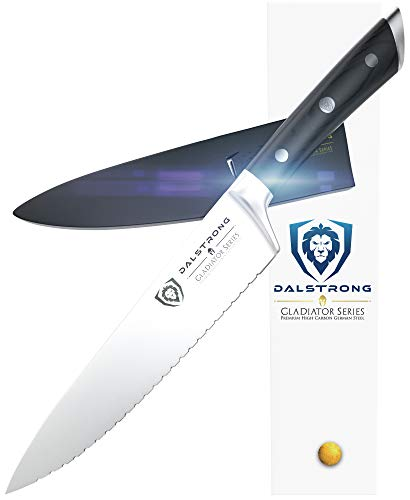 "DALSTRONG Serrated Chef Knife - Gladiator Series - Forged ThyssenKrupp High Carbon German Steel - Full Tang (7.5"" Serrated Chef Knife, Black)"