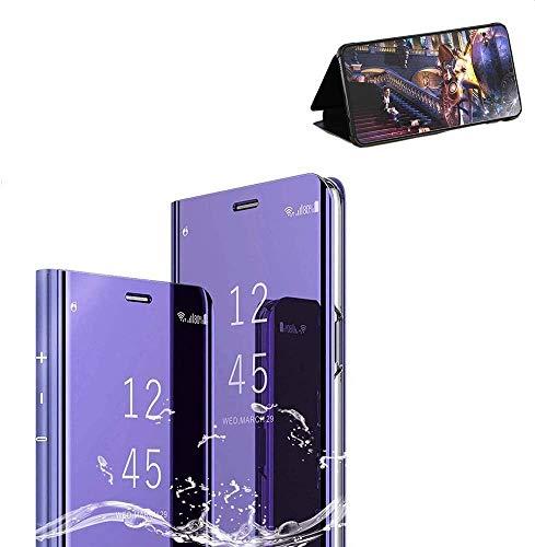 Compatible Funda Huawei P9,Carcase Huawei P9 Flip de Espejo,Inteligente Translucent Window Case Caso Skin Stand Shell 360 Grados Full Body Protección Plating Cover Morado