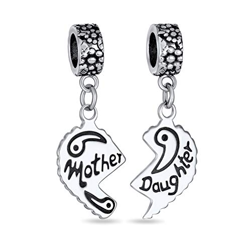 Engravable Mom Daughter Split Heart Dangle