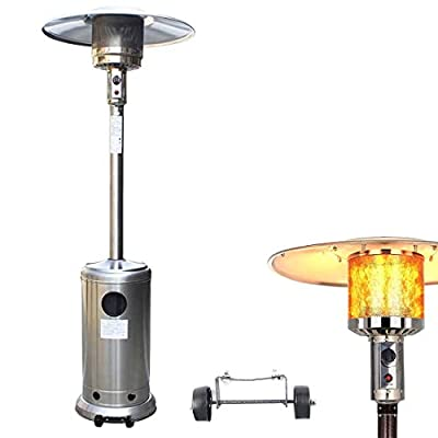 HuiRS Outdoor Propane Patio Heater - 48000 BTU Stainless Steel Patio Heater Portable Floorstanding Liquid Propane Gas Commercial Heater with Wheels for Garden Cafe Party