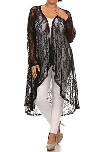 646 - Sheer Lace Long Sleeve Open Front Long Body Asymmetric Hem Hi Low Cardigan (3X, Black)