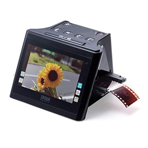 サンワダイレクト フィルムスキャナー 35mm/126/110/スライドフィルム対応 2200万画素 ネガ・ポジ対応 HDMI出力 SD保存 5インチモニタ搭載 400-SCN058