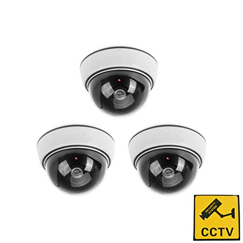 Phot-R 3X Exterior Imitacion Falsa Cubierta LED Rojo CCTV de la boveda del centelleo de luz IR Vigilancia de Seguridad Camara simulada con una Etiqueta de Advertencia - Blanco