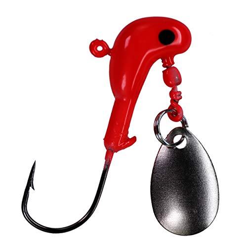 THKFISH Testa piombata da Pesca 10 Pezzi Ami da Pesca Esche Artificiali Spinning Jig Hook per Crappie Panfish Bass Trout 7g Rosso