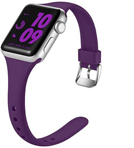 Laffav Slim Band Compatible with Apple Watch 40mm 38mm for Women, Waterproof Durable Silicone Sport Strap Compatible with iWatch SE & Series 6 & Series 5 4 3 2 1, Purple, M/L